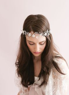 Sparkling crystal leaf and bead hair vine - Style # 421 - Ready to Ship