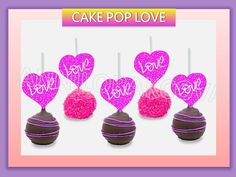 Cake Pop Toppers Heart Love Centerpiece I Love You Toppers Weedding U Print   eBay