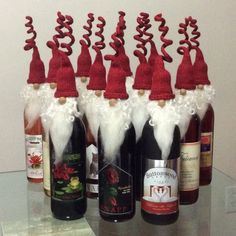 Santa wine topper felted wine topper Set of 3 by CurlyTailCrochet bottle crafts new years 3 knit and felted wine bottle toppers,Christmas ornament bearded gnome bottle colors,olive oil topper,Nordic gnomes Christmas Wine, Christmas Gnome, Rustic Christmas, Wine Bottle Covers, Bottle Top, Christmas Decorations, Christmas Ornaments, Christmas Wreaths, Homemade Christmas Gifts