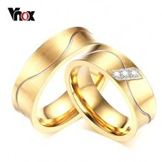 Vnox Gold-color Anel De Casamento Fashion Cubic Zirconia His and Her Wedding Ring Stainless Steel Alliance Matte Leaf Engagement Ring, Engagement Jewelry, Engagement Ring Settings, Wedding Engagement, Engagement Couple, Wedding Jewelry, Gold Diamond Wedding Band, Wedding Ring Bands, Wedding Rings For Women