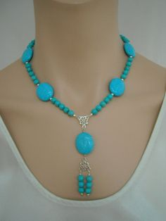 Turquoise and sterling silver necklace by SilverSerenade on Etsy, $42.00
