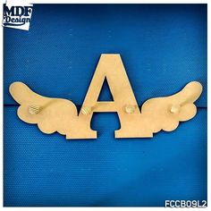 """Letra A"" FCCB09L2 Cabide de Parede Letra Wings 70x30cm 4 Pinos - http://ift.tt/29XdScI"
