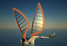 Sailing aircraft concept:  a plane that turns into a sailboat.  Or vice versa.  #design #technology #sailing #aviation