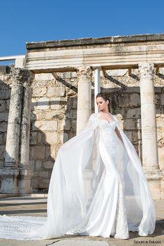 shabi and israel wedding dress 2015 strapless long cape mermaid bridal gown