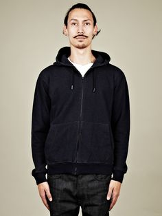 Maison Martin Margiela 10 Men's Double-Faced Hooded Sweat in navy at oki-ni