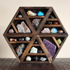Hexagon Shelf crystal display by Stone & Violet Crystals And Gemstones, Stones And Crystals, Wicca Crystals, Wood Shelves, Display Shelves, Palette Deco, Crystal Shelves, Triangle Shelf, Hexagon Shelves