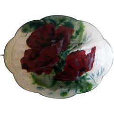 Antique Handpainted Sterling Enamel Norway Poppy Blossom Brooch by Gustav Gaudernack