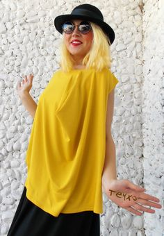 Plus Size Yellow Top / Oversize Women Blouse TT39 / NEW by Teyxo https://www.etsy.com/listing/218655923/plus-size-yellow-top-oversize-women?ref=related-2