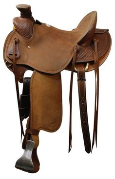 "15"", 16"", 17"" Showman™ saddle with braided basket weave tooling."