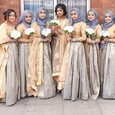 Hijabi Wedding, Wedding Hijab Styles, Pakistani Wedding Outfits, Pakistani Wedding Dresses, Arab Wedding, Bridesmaid A Line Dresses, Bridesmaid Outfit, Wedding Bridesmaids, Wedding Reception Outfit