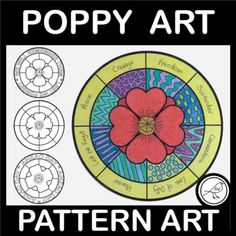 Poppy Art Activity that your students will have fun completing when remembering those who have served in the line of duty.7 DIFFERENT SETS OF TEMPLATES: (the difference is the writing in the border)SET A - We will remember them; Lest we forgetSET B - Anzac DaySET C - Armistice DaySET D - Remembranc... School Resources, Classroom Resources, Teaching Resources, Poppy Template, Armistice Day, Anzac Day, Spelling Words, Remembrance Day, Writing Poetry