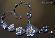POLYMER CLAY blue flowers