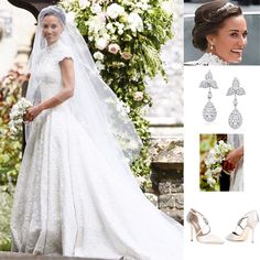 Pippa's wedding dress was created by Giles Deacon. She wore Stephen Jones's veil made from fine tulle with a dégradé of embroidered tulle. The tiara and the matching headpeace was a handmade by Robinson Pelham, and the hair was done by Pol Garcia. Pippa's diamond drop earrings were also by Robinson Pelham and her ivory satin shoes are the Manolo Blahnik Seneca style. And her bouquet was a collection of Peony, Sweet Pea, Astilba, Fressia, Waxflower, Green Bell and Alchemilla mollis.