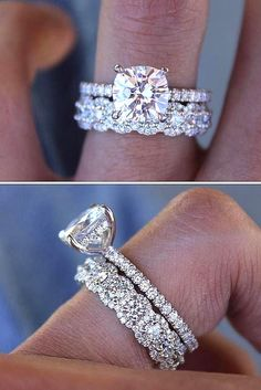 Dream Engagement Rings, Rose Gold Engagement, Engagement Ring Settings, Stacked Engagement Ring, Engagement Wedding Ring Sets, Platinum Engagement Rings, Platinum Wedding Rings, Wedding Rings Solitaire, Solitaire Diamond Engagement Ring