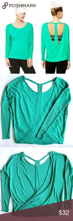 "Alo Yoga Cinder Long Sleeve Top Ribbed fitted long sleeves, draped open back, loose fit. 22"" across chest,  23"" long shoulder to bottom hem.  In excellent condition.  Color best viewd in actual item pictures. ALO Yoga Tops Tees - Long Sleeve"