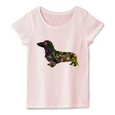 アートダックスのシルエットTシャツ Tシャツ通販でお楽しみな一品!ダックスのシルエットの中にイラストレーションがあるお洒落でアートなデザインTシャツです。ミニチュアダックスが好きな方、犬が好きな方はこのレディースTシャツはいかがでしょうか?シンプルなシルエットの中にオリジナルのイラストがあるお洒落な一枚★ #ミニチュアダックスフンド