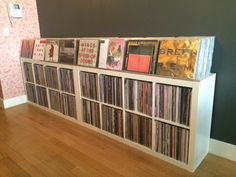 For those of you who listened to the first episode of the Record Nerdz podcast and was wondering what Jason's set up looked like, here it is. The top loading portion holds about 50 LPs per row. Music Storage, Modern Furniture Living Room, Vinyl, Vinyl Record Storage, Vinyl Cafe, Industrial Lounge, Record Shelf, Audio Room, Dj Room