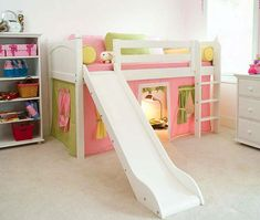 Totally cute loft bed with play area underneath