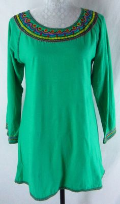 SACRED THREADS M L Long Shirt Tunic Green Multicolored Embroidered Hippie Boho  #SacredThreads #Tunic #Casual