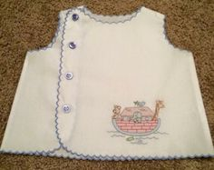 This vintage inspired white broadcloth baby boy diaper shirt features a shadow embroidered Noahs Ark on the front and machine scalloping on the Baby Dress Clothes, Baby Boy Dress, Baby Girl Dress Patterns, Baby Dress Design, Vintage Baby Clothes, Little Girl Dresses, Baby Boy Outfits, Kids Outfits, Baby Embroidery