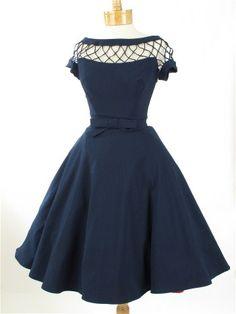 """1950s Style Bettie Page Navy Blue """"Alika"""" Swing Dress"""