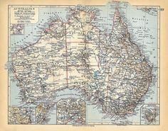 1928 Australia Vintage Map to Frame