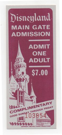 1966 Complimentary park admission.