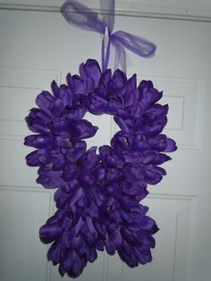 Bright Purple Ribbon Wreath