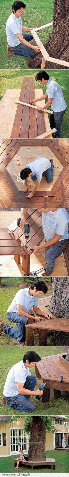 DIY Holzbank um einen Baum