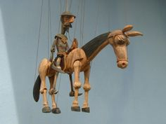 Don Quijote and Rosinant , marionette puppet (Czech Rep.). - Art of puppet making has a long tradition in Czech Republic.