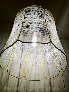 the ambitious procrastinator: DIY Lamp Shade Makeover This is crochet thread.Wild!!