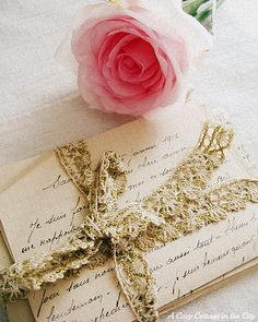 love letters tied with lace and a rose of course Vintage Love, Vintage Paper, Raindrops And Roses, Origami, Old Letters, Paper Lace, Handwritten Letters, Idee Diy, Vintage Lettering