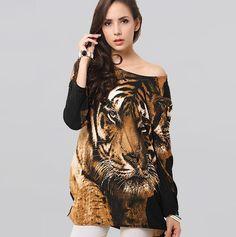 Print Tiger Head Pattern Winter Dress Vintage Long Sleeve Cashmere Women Sexy Dresses Plus Size 2 Colors