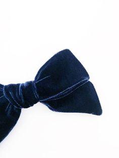 Velvet hand tied hair bow Navy blue oversized schoolgirl bow