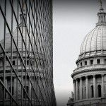 Madison Wisconsin black and white reflection of the Wisconsin state capitol