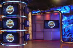 Explore photos of The Score's TV set design in this interactive gallery of the studio. Tv Set Design, Studio Design, Scores, Design Inspiration, Gallery, Backgrounds, Projects To Try, Roof Rack