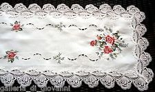 """LAVISH LACE Country Rose Lace  43"""" Doily Table Runner  Red & Pink Roses Flower"""