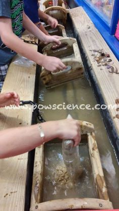Kids love sifting through bags of Mining Rough to discover quartz, pyrite, amethyst and much more at the Pow!Science! Mining Sluice!