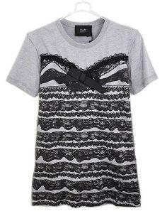 Grey Lace Panel Print Round Neck T-shirt