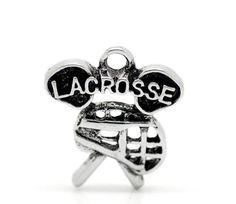 6 Silver Pewter Metal LACROSSE Sports Charm Pendants by SmartParts, $3.59