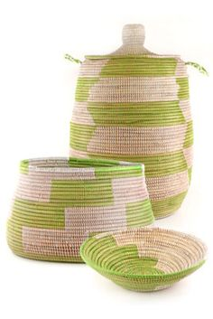 Wolof women in rural Senegal have been crafting coil style baskets for generations. Laundry hamper, knitting basket and bread basket