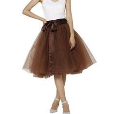Lisong Women Knee Length Bowknot layered Tulle Party Prom…