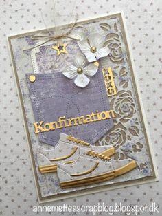 Anne-Mette´s scrapblog: Konfirmationskort 2018 Easy Crafts, Diy And Crafts, Baby Mini Album, Pocket Cards, Masculine Cards, Altered Art, Handicraft, Decorative Items, Mini Albums