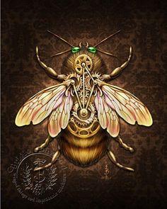 STEAMBEE  steampunk bee art print  BRIGID ASHWOOD by brigidashwood