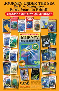 Choose Your Own Adventure Journey Under the Sea by R. A. Montgomery. Covers of the iconic title since original publication in 1977. #chooseyourownadventure #reading #books #booksforboys #booksforgirls #reluctantreaders