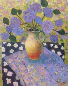 """Daily Painters Abstract Gallery: Expressionist Still Life Flower Art Painting """"Picnic"""" by Santa Fe Artist Annie O'Brien Gonzales Art Floral, Flower Of Life, Flower Art, Guache, Paintings I Love, Abstract Flowers, Whimsical Art, Painting & Drawing, Painting Abstract"""
