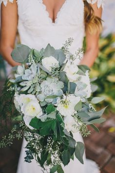 Succulent and greenery wedding bouquet