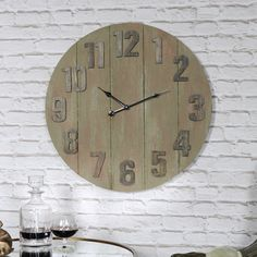 Wooden wall atlas world map globe pendulum clock vintage kitchen large wooden industrial style wall clock melody maison gumiabroncs Gallery