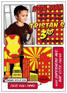 Iron Man Invitation Iron Man Party, Superhero City, Iron Man Birthday, Superhero Invitations, 5th Birthday Party Ideas, Event Planning, How To Plan, Typography, Graphics