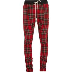 Fear Of God Skinny-fit wool-tartan trousers ($770) ❤ liked on Polyvore featuring men's fashion, men's clothing, men's pants, men's dress pants, red multi, mens slim fit wool dress pants, mens plaid pants, mens skinny pants, mens expandable waist dress pants and mens red pants